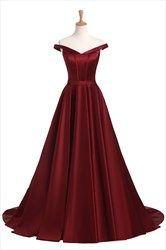 Elegant Burgundy Off The Shoulder Strapless Floor Length Prom Dress
