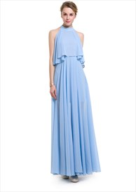 Elegant Sleeveless Floor Length Chiffon Overlay Maxi Dress