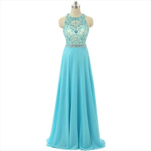 Aqua Blue Sleeveless Illusion Floor Length Dress With Beaded Bodice