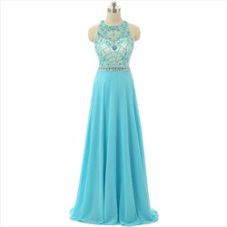 Aqua Blue Sleeveless Illusion Floor Length Dress With Beaded Bodice