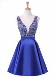 Short Sleeveless V Neck Backless Homecoming Dress With Beaded Bodice