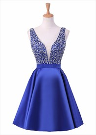 Short Sleeveless V Neck Backless Homecoming Dress With Beaded Bodice