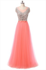 Tulle Capped Sleeve Floor Length Prom Dress With Beaded Bodice