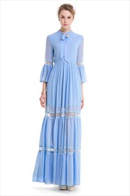 Vintage 3/4 Bell Sleeve Embellished Lace & Chiffon Maxi Dress