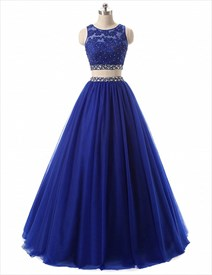 Blue Sleeveless Two-Piece Beaded Waist Prom Dress With Lace Applique