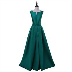 Sleeveless Scoop Neck Dropped Waist Floor Length A Line Satin Dress