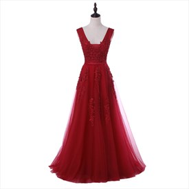V Back Capped Sleeve Floor Length Prom Dress With Lace Applique