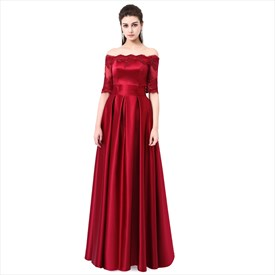 Burgundy Off The Shoulder Half Sleeve Dresses With Lace Appliques