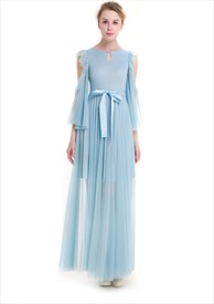 Elegant Light Blue Front Keyhole A-Line Lace Maxi Dress With Belt