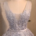 Gray Cap Sleeve V Back Knee Length Homecoming Dress With Lace Applique