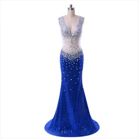 Royal Blue Floor Length Illusion Beaded Bodice Mermaid Style Prom Dress