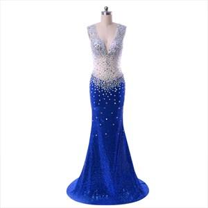 Royal Blue Floor Length Illusion Beaded Bodice Mermaid Style Prom Dress