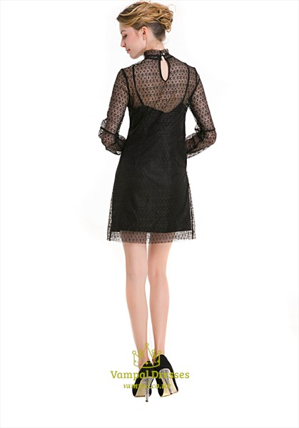 Illusion High-Neck Long Sleeve Knee Length Black Lace Casual Dress
