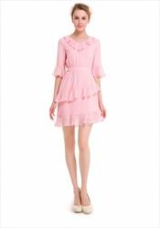 Cute Half Sleeve Knee Length Lace Embellished Chiffon Casual Dress