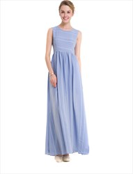 Simple Sleeveless A-Line Striped Maxi Dress With Closed Back