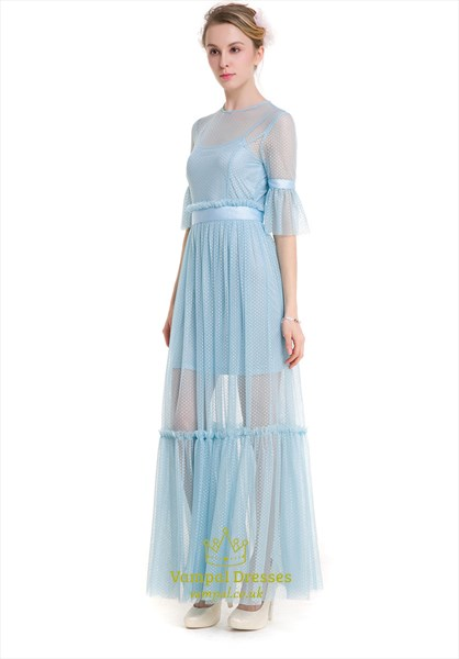 Illusion Light Blue Bell Sleeve Lace Overlay Floor Length Maxi Dress