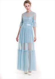 Illusion Light Blue Bell Sleeve Lace Overlay Floor Length Maxi Dress