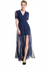 Elegant Short Sleeve V-Neck A-Line Embellished Chiffon Maxi Dress