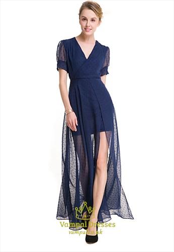 Elegant Short Sleeve V-Neck A-Line Embellished Chiffon Maxi Dress