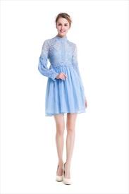 Cute Long Sleeve Knee Length Lace Bodice Chiffon Bottom A-Line Dress