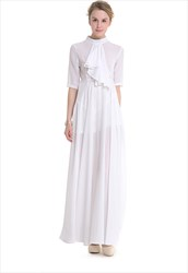 Elegant Half Sleeve High-Neck Chiffon Maxi Dress With Ruffle Front