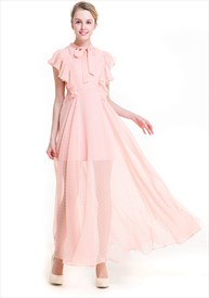 Women's Elegant Cap Sleeve A-Line Embellished Chiffon Maxi Dress