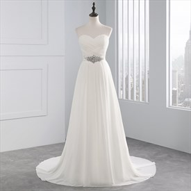 Chiffon Sexy A-Line Beaded Waist Lace Up Wedding Dress With Train
