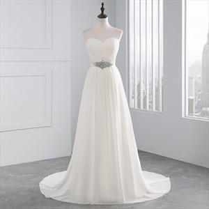 Chiffon Sexy A-Line Beaded Waist Lace Up Wedding Dress With Train