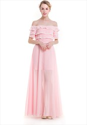 Off The Shoulder A-Line Chiffon Maxi Dress With Lace Embellished