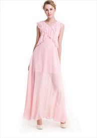 V-Neck A-Line Cap Sleeve Lace Embellished Bodice Chiffon Maxi Dress