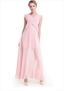V-Neck A-Line Cap Sleeve Lace Embellished Bodice Chiffon Maxi Dress