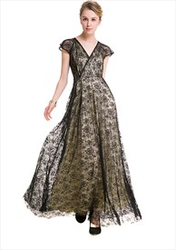 Elegant Cap Sleeve V Neck A-Line Black Lace Overlay Maxi Dress