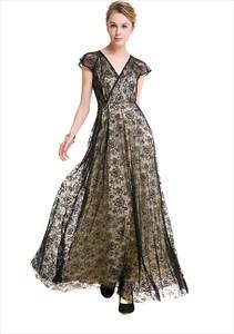 Elegant Cap Sleeve V Neck A-Line Black Lace Overlay Maxi Dress