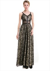 Spaghetti Strap V-Neck Floor Length A-Line Black Lace Overlay Dress