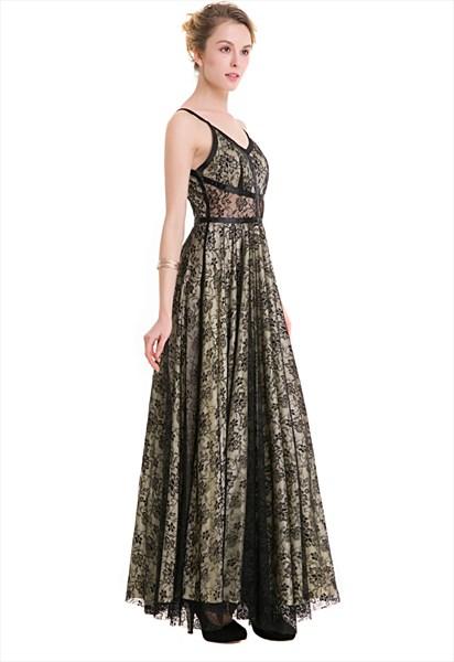 Spaghetti Strap V-Neck Floor Length A-Line Black Lace Overlay Dress