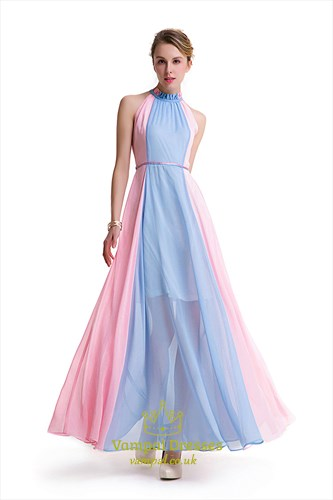 Elegant Sleeveless Contrast Colour Chiffon Maxi Dress With Ruched Top