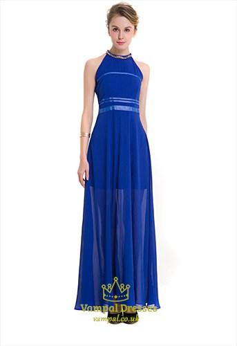 Sleeveless Halter A-Line Chiffon Maxi Dress With Beaded Neckline