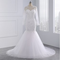 Long Sleeve Lace Illusion Neckline Mermaid Wedding Dresses With Train