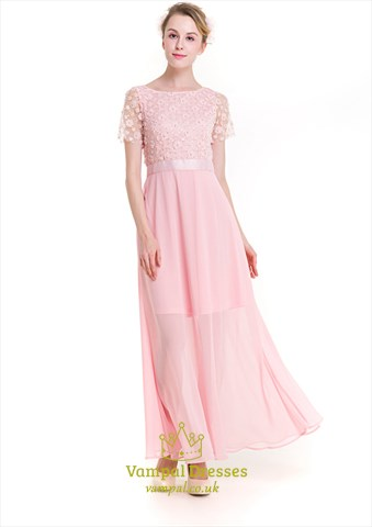 Baby Pink Illusion Short Sleeve Chiffon Maxi Dress With Embellishments