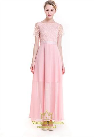 Baby Pink Illusion Short Sleeve Chiffon Maxi Dress With Embellishments