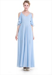 Simple Cold Shoulder Spaghetti Strap V-Neck A-Line Chiffon Maxi Dress
