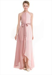 Sleeveless Contrast Colour High Low Chiffon Maxi Dress With Belt