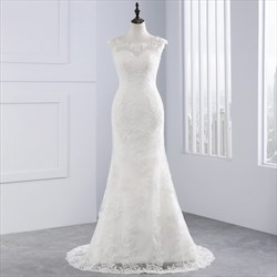 Capped Sleeve Illusion Neckline Mermaid Wedding Dress With Lace Overlay