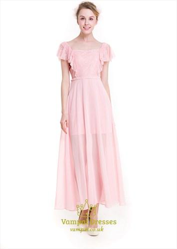 Ankle Length Cap Sleeve Lace Bodice Chiffon Bottom A-Line Dress