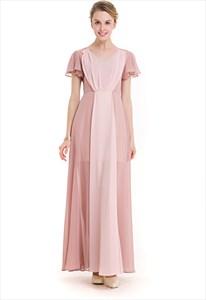 Simple Cap Sleeve V-Neck A-Line Contrast Colour Chiffon Maxi Dress