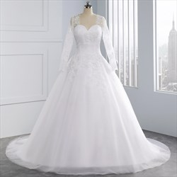 Long Sleeve Lace Up Ball Gown Wedding Dresses With Lace Applique