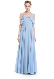 Elegant A-Line Chiffon Maxi Dress With Beaded Spaghetti Strap