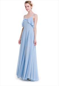 Elegant A-Line Chiffon Maxi Dress With Beaded Spaghetti Strap