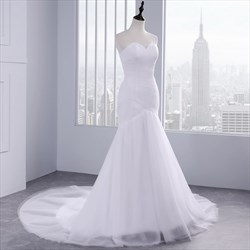 Tulle Sexy Strapless Sheath Mermaid Style Wedding Dress With Train