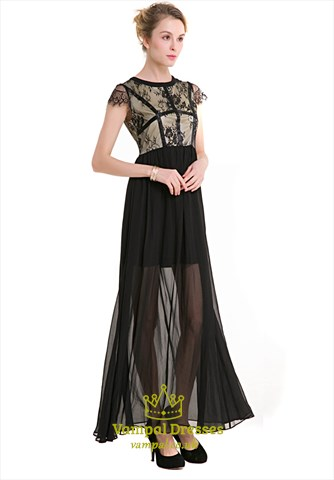 Black Cap Sleeve A-Line Chiffon Maxi Dress With Lace Embellished Top